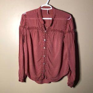 Free people crochet flowy blouse
